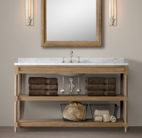 Weathered Oak Single ExtraWide Washstand