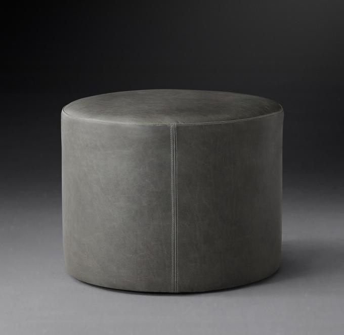 21 cooper leather round ottoman