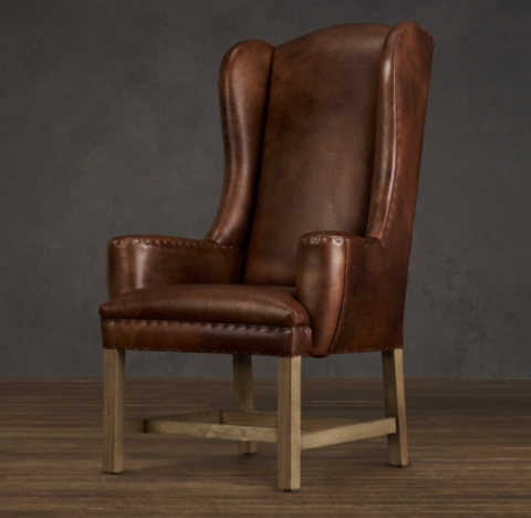 Belfort Wingback Leather Set of Chairs