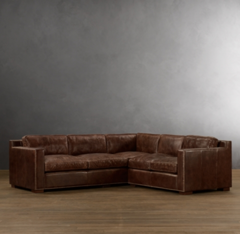 Collins Leather Customizable Sectional With Nailheads