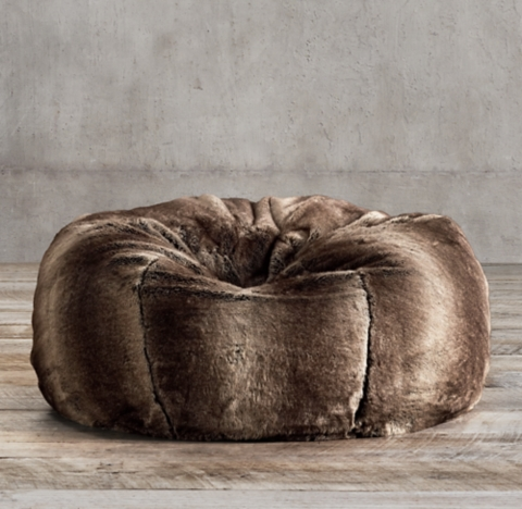Luxe Faux Fur Bean Bag  Mink