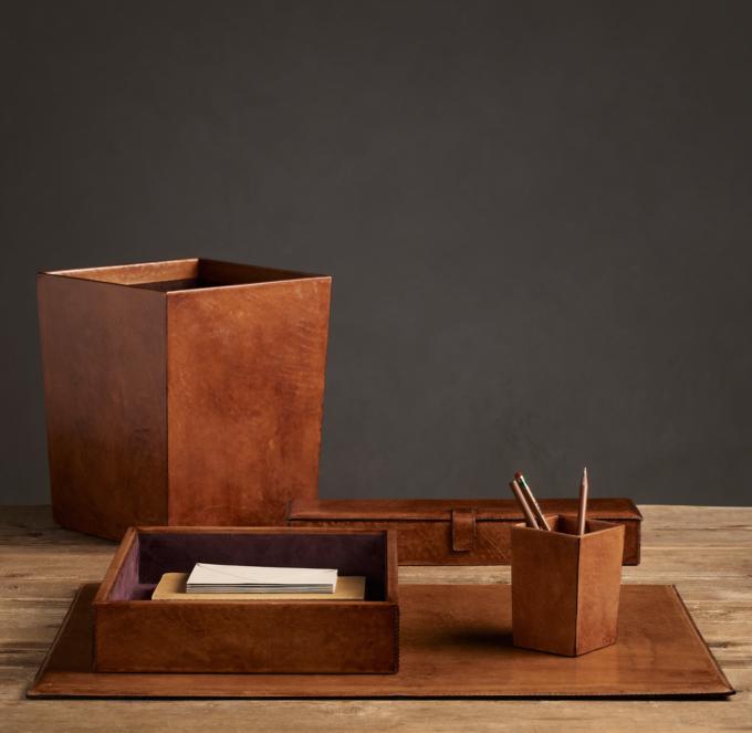 Artisan Leather Desk Accessories  Chestnut