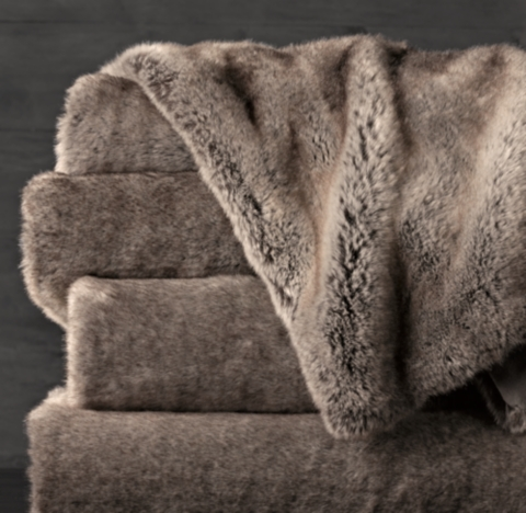 Luxe Faux Fur Oversized Bed Throw  Wolf