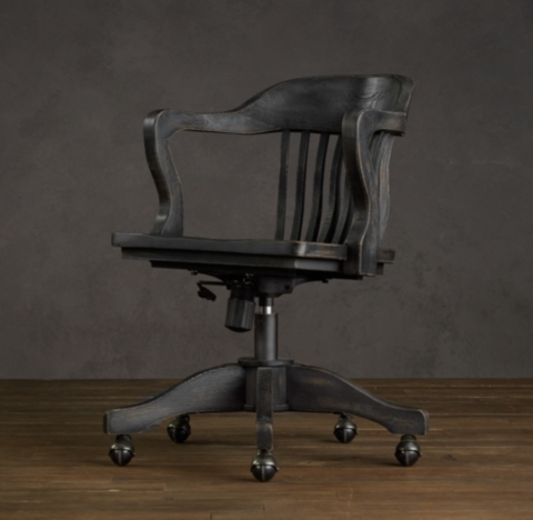 1940s Bankers Chair  Antiqued Black