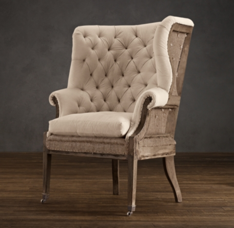 Deconstructed 19th C English Wing Chair Antique Cotton