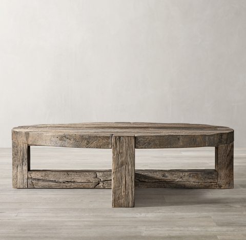 reclaimed rustic oak round coffee table