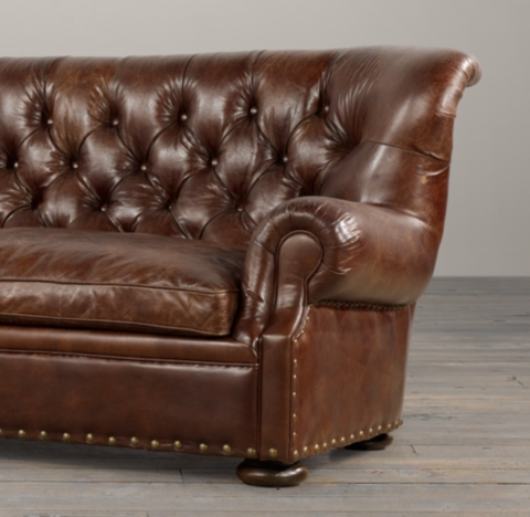 Churchill Leather Sofa with Nailheads
