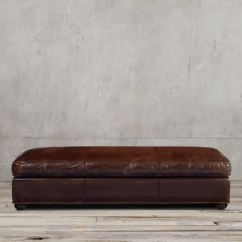 Rh Lancaster Leather Sofa 3 Seater Brown Original Coffee Ottoman