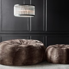 Restoration Hardware Beanbag Chair Mid Century Recliner Luxe Faux Fur Double Bean Bag Chinchilla Alternate View 1