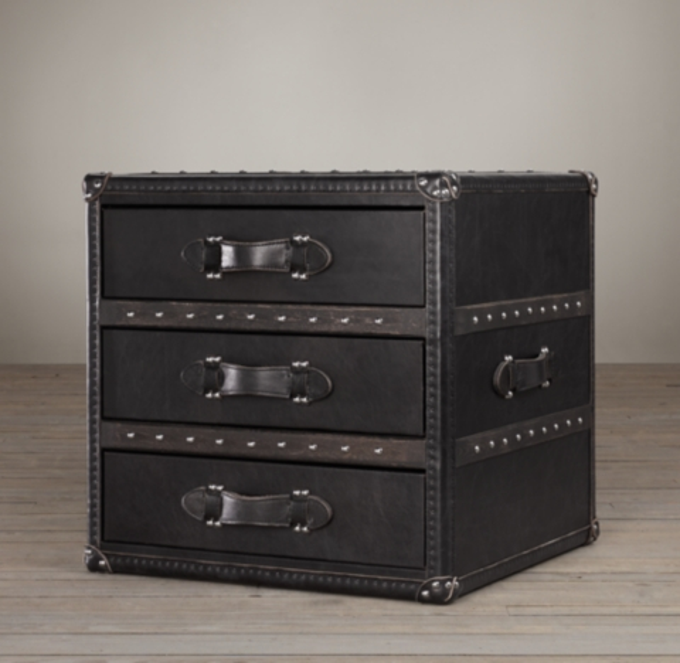 Mayfair Steamer Trunk 3Drawer Cube  Old Black Saddle