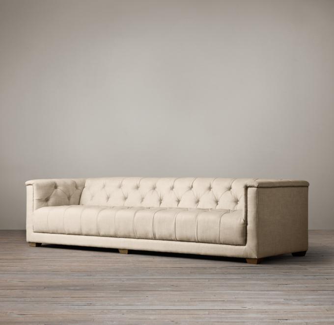savoy leather sofa restoration hardware milari linen queen sleeper upholstered alternate view 1 2