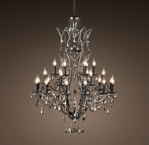 19th C Rococo Iron  Smoke Crystal Round Chandelier 41