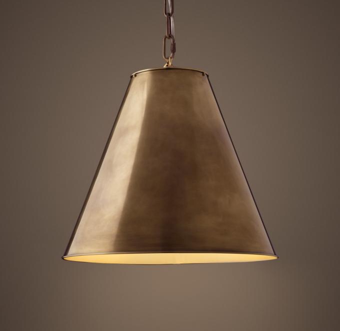 Antiqued Metal Cone 18 Pendant  Vintage Brass