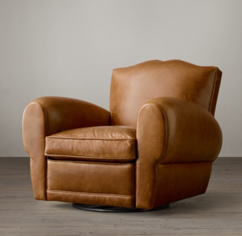 1940s French Mustache Leather Club Swivel Chair