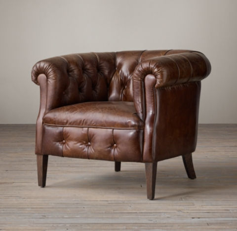 brown leather tub chair with footstool american diner table and chairs 1930s english tufted shown in vintage cigar