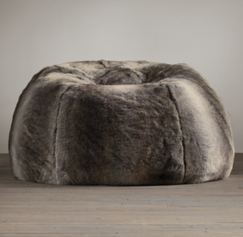 Luxe Faux Fur Bean Bag  Wolf