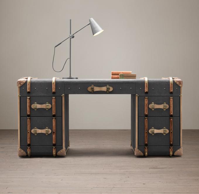 Richards Trunk Desk  Charcoal Canvas