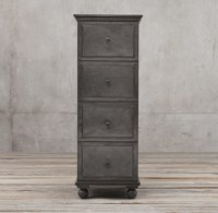 Zinc 4-Drawer Narrow File Cabinet