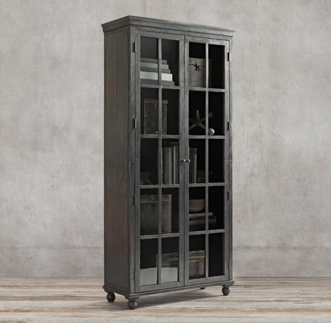 Annecy MetalWrapped Glass DoubleDoor Cabinet