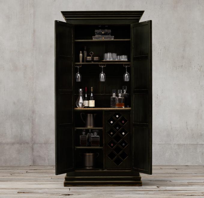 17th C Castell DoubleDoor Bar Cabinet