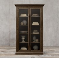 20th C. English Brass Bar Pull Glass Double-Door Cabinet