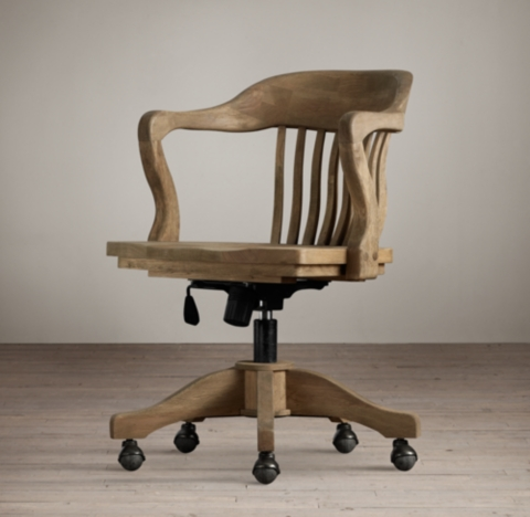 1940s Bankers Chair  Weathered Oak Drifted