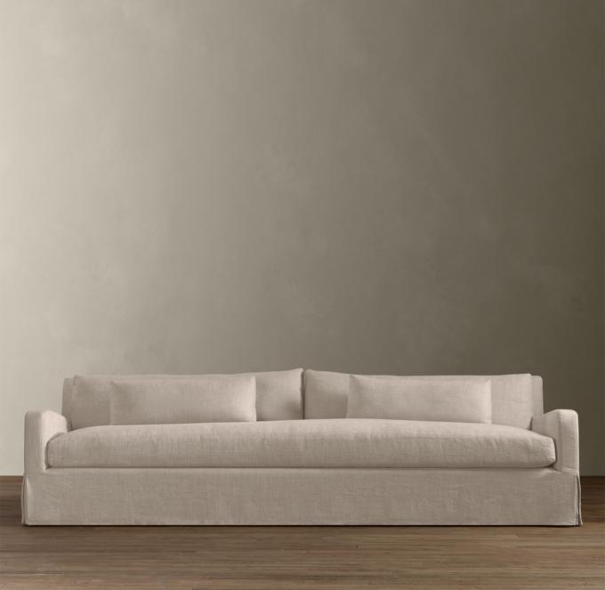 restoration hardware sectional sofa linen montauk stanley dimensions 9 belgian slope arm slipcovered alternate view 1