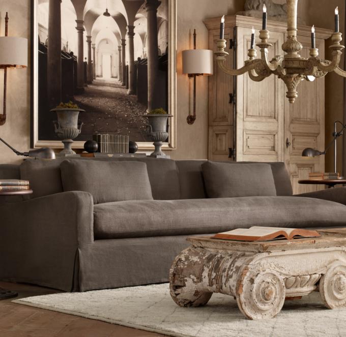 restoration hardware sectional sofa linen century furniture construction belgian slope arm slipcovered alternate view 6