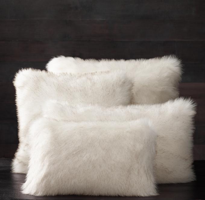 Exotic Faux Fur Pillow Cover  Arctic White Mink