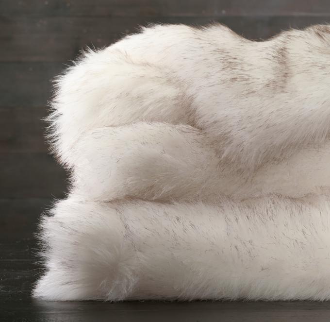 Exotic Faux Fur Throw  Arctic White Mink