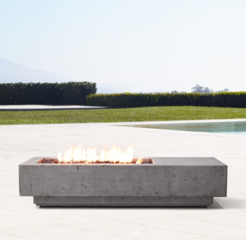 """Peaktop firepit outdoor gas fire pit resin with lava rock & cover. 56"""" Ixtapa Natural Gas Asymmetrical Rectangular Fire Table"""