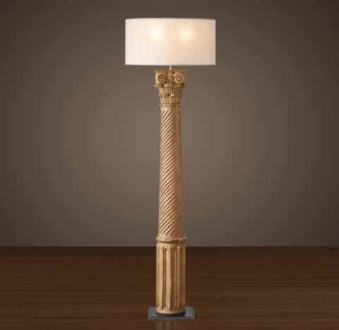HandCarved Corinthian Column Floor Lamp  Natural