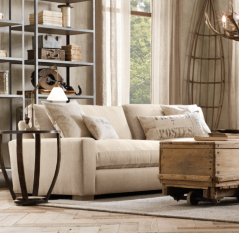 restoration hardware sectional sofa linen tufted maxwell upholstered alternate view 5