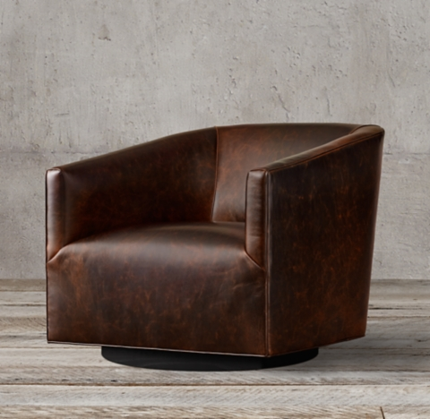 1950s Italian Shelter Arm Leather Swivel Chair