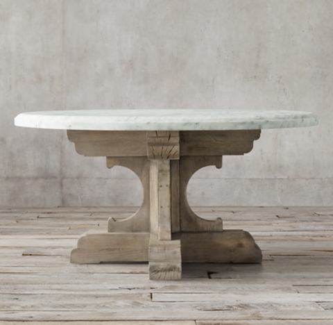 17th C French Bastide Oak  Marble Round Dining Table
