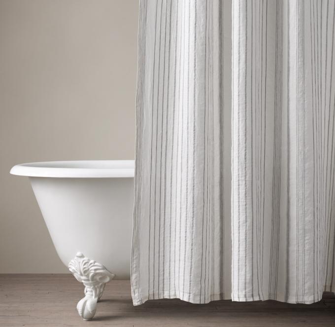 italian stripe jacquard linen shower