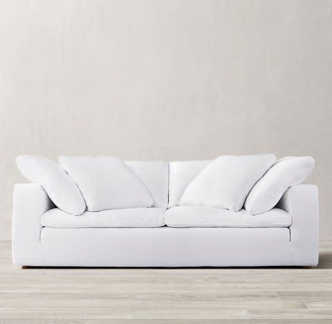 cloud track arm leather two seat cushion sofa big white cushions collection rh 3 depths 2 fills 4 lengths