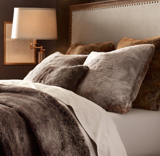 Luxe Faux Fur Pillow Cover  Mink