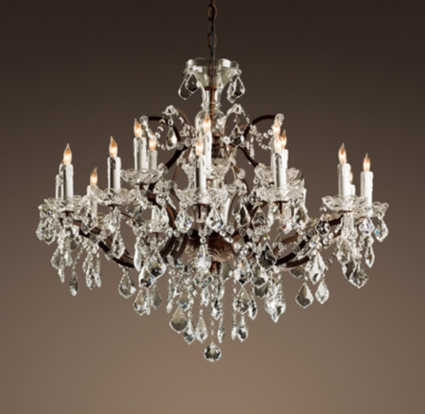 19th C Rococo Iron  Clear Crystal Round Chandelier 32
