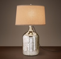 19th C. Vintage Mercury Glass Short Table Lamp