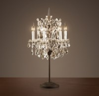 19th C. Rococo Iron & Clear Crystal Table Lamp