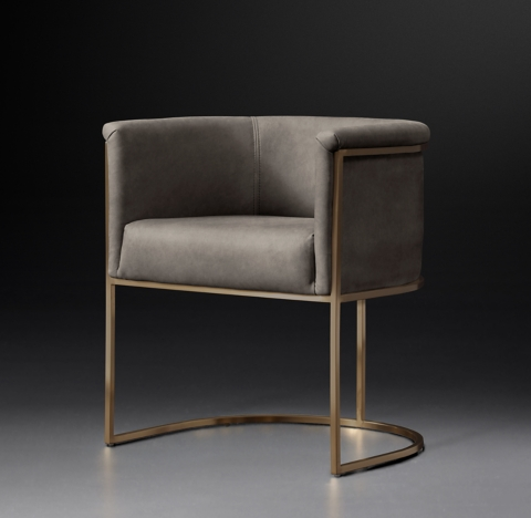barrel back chair 3 seat rocking wexler barrelback collection burnished brass rh modern more finishes leather armchair