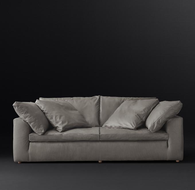 cloud track arm leather two seat cushion sofa dark blue table petite