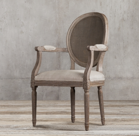 how to replace cane back chair with fabric rustic dining table and chairs vintage french round collection rh more finishes armchair
