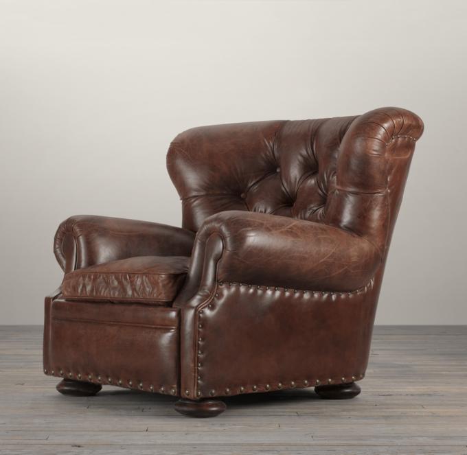 leather cigar chair cheap papasan churchill with nailheads