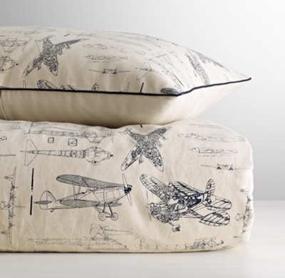 Vintage Airplane Blueprint Duvet Cover