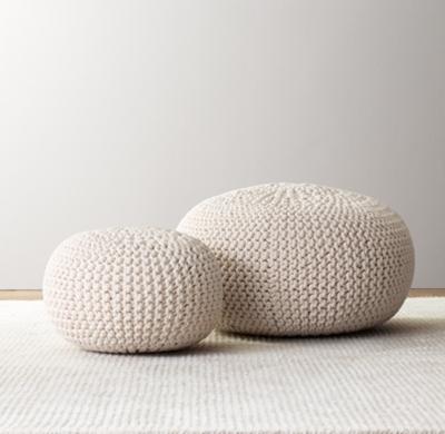 Knit Cotton Round Pouf  Natural