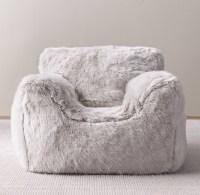 Luxe Faux Fur Bean Bag Chair - Grey Fox