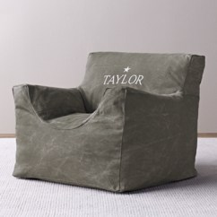 Child Bean Bag Chair Personalized Unusual Chairs Distressed Canvas Cover - Charcoal