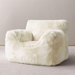 Faux Fur Chair Cover Retro Kids Luxe Bean Bag Shown In Arctic Fox